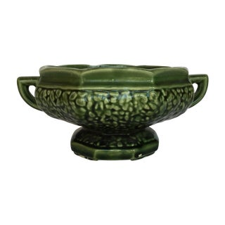 Green Double Handle Pottery Urn For Sale