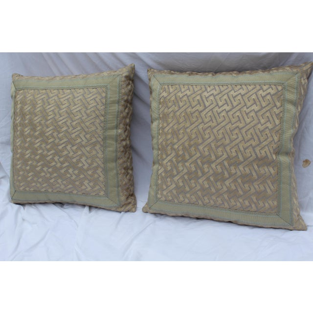 """Mid 20th Century Silk """"Greek Key"""" Down Pillows in Beige/Taupe With Light Green Embroidered Trim - a Pair For Sale - Image 5 of 13"""