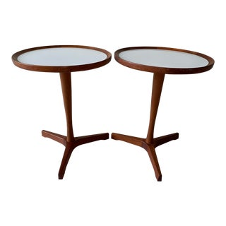 Hans Andersen Teak Round Pedestal Tables - a Pair For Sale