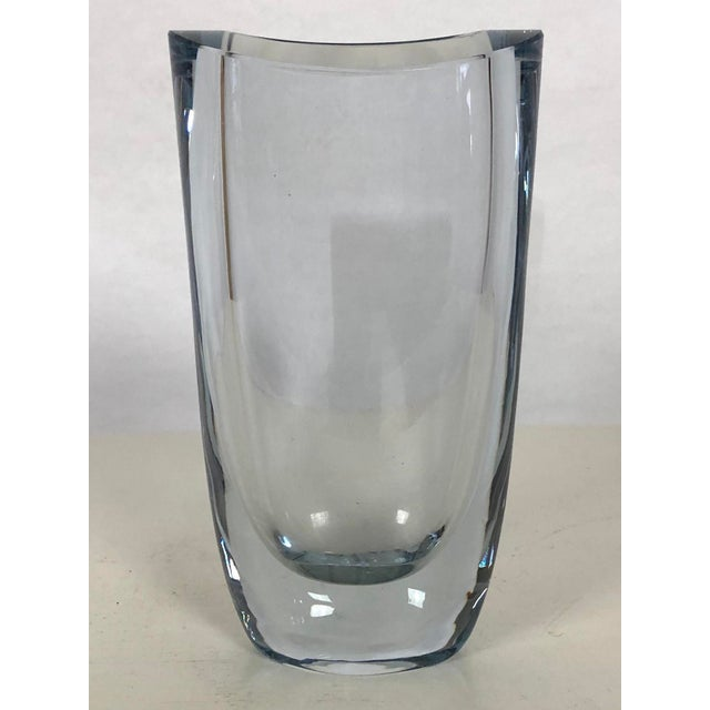 Mid-Century Modern 1960's Swedish Strombergshyttan Ice Blue Art Glass Vase For Sale - Image 3 of 9