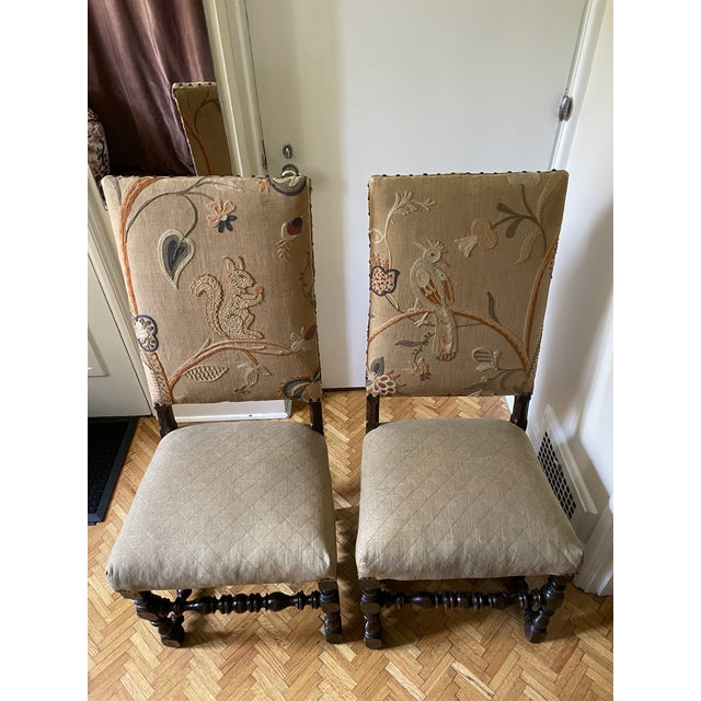 Wood Mid 17th Century Walnut Franco Flemish Louis XIII Baroque Fireside Chairs - a Pair For Sale - Image 7 of 13