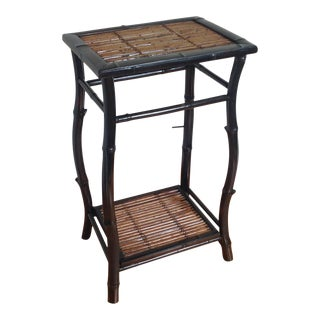 20th Century Boho Chic Bamboo Rattan Side Table For Sale