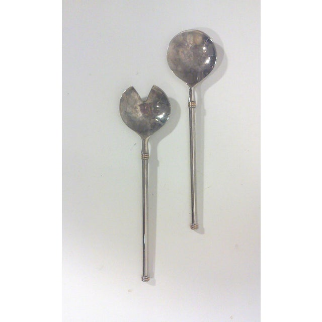 Modernist Silver Plated Serving Utensils - Pair - Image 3 of 6