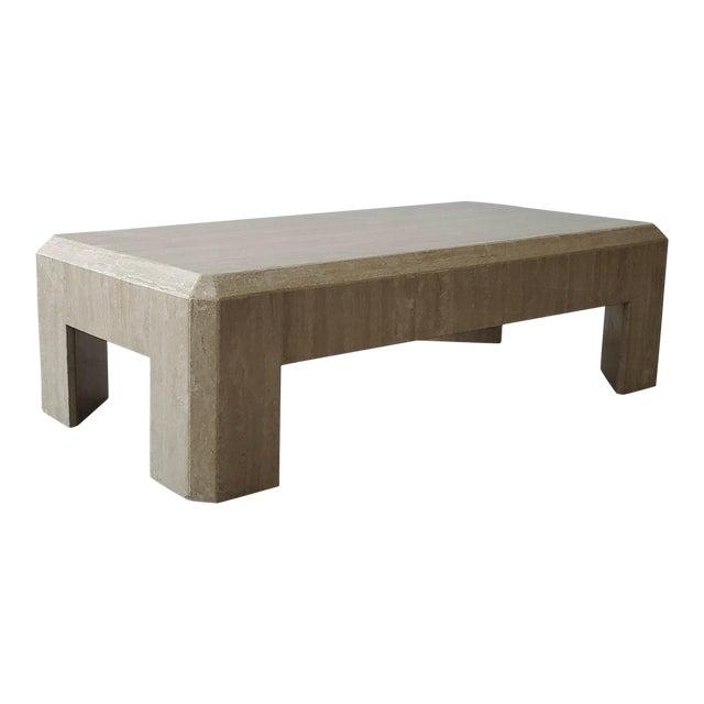 Rectangular Post-Modern Italian Travertine Coffee Table For Sale