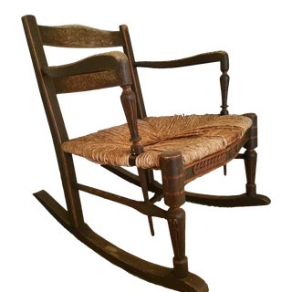 Morris Ebonised Rush Seat Sussex Rocking Chair For Sale