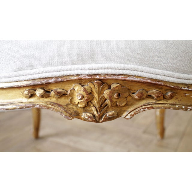 19th Century Carved Giltwood French Louis XV Style Open Arm Chairs For Sale - Image 11 of 13