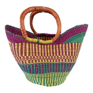 Saint -Tropez Style African Large Bolga Basket For Sale