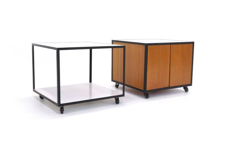 Beautiful Pair Of George Nelson Steel Frame Group Rolling Tables / Carts   Image 3 Of  8