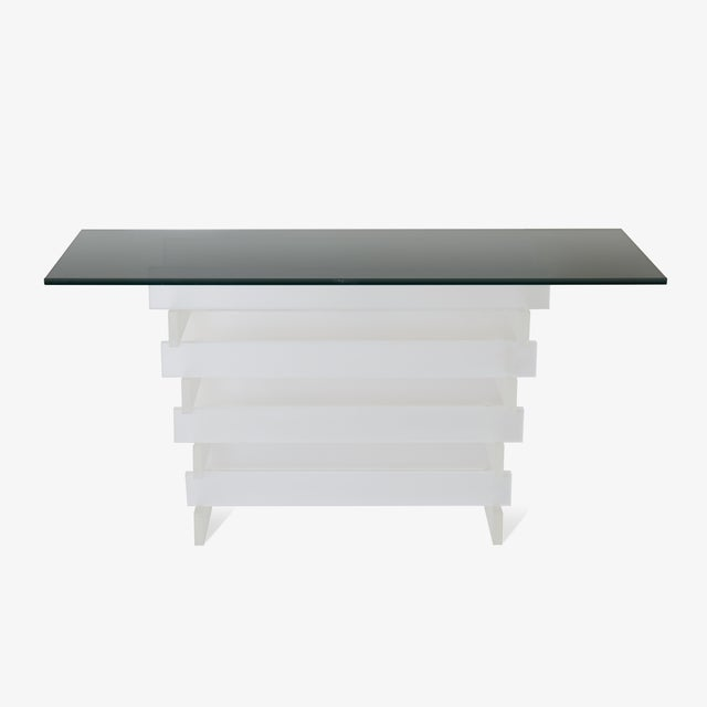 Stacked Frosted Lucite & Smoked Glass Console For Sale In New York - Image 6 of 6