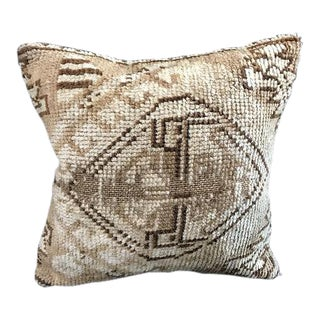 1960s Turkish Natural Hand Woven Beige Fabric Pillow Case For Sale