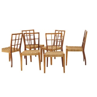 Set of 6 Wooden Chairs and Rattan by Paolo Buffa 50 Years For Sale
