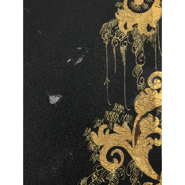 Black Napoleon III Painted Tray on Custom Art Deco Wrought Iron Stand For Sale - Image 8 of 9