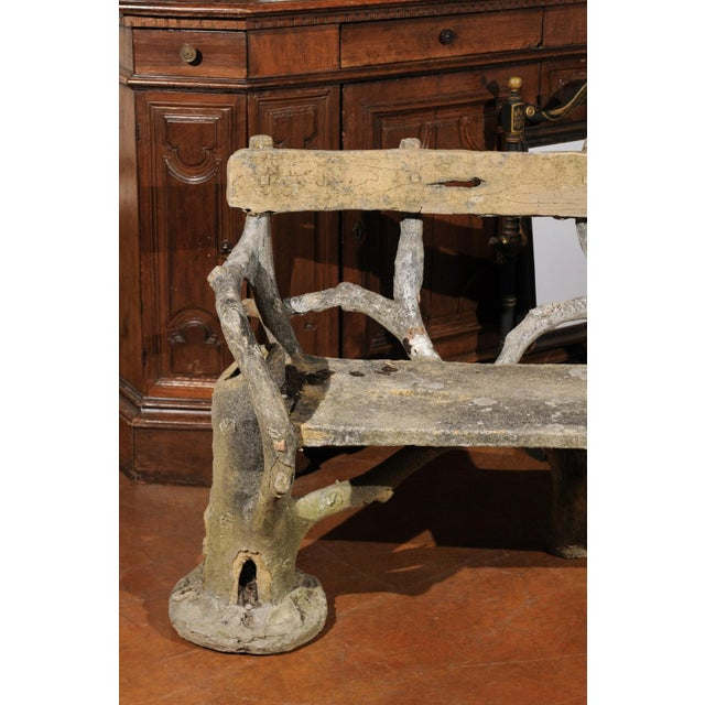 French Late 19th Century Faux-Bois Concrete Bench with Vases Flanking the Sides For Sale - Image 10 of 13