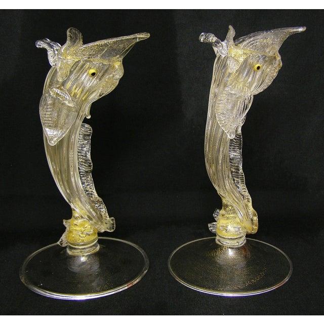 Pair Venetian Murano Glass Dolphin Vessels Italy Italian Mid Century Modern - Image 3 of 11