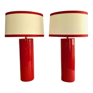 1980's Cherry Red Cylindrical Ceramic Table Lamps With Custom Shades - a Pair For Sale