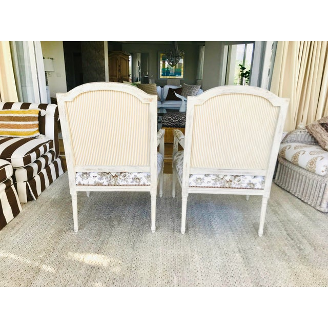 1990s Vintage Gustavian in Scalamandre Fabric Chic Distressed Side Chairs- a Pair For Sale - Image 4 of 8
