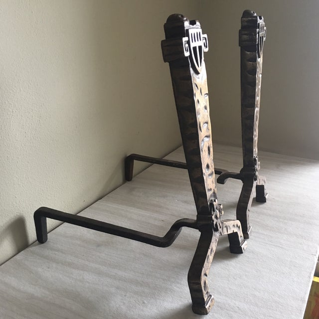 1930's Vintage Gothic Fireplace Andirons - a Pair - Image 5 of 5