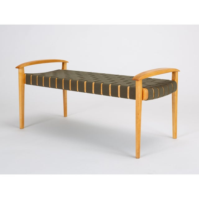 2000 - 2009 American-Made Maple Bench With Woven Seat by Tom Ghilarducci For Sale - Image 5 of 13