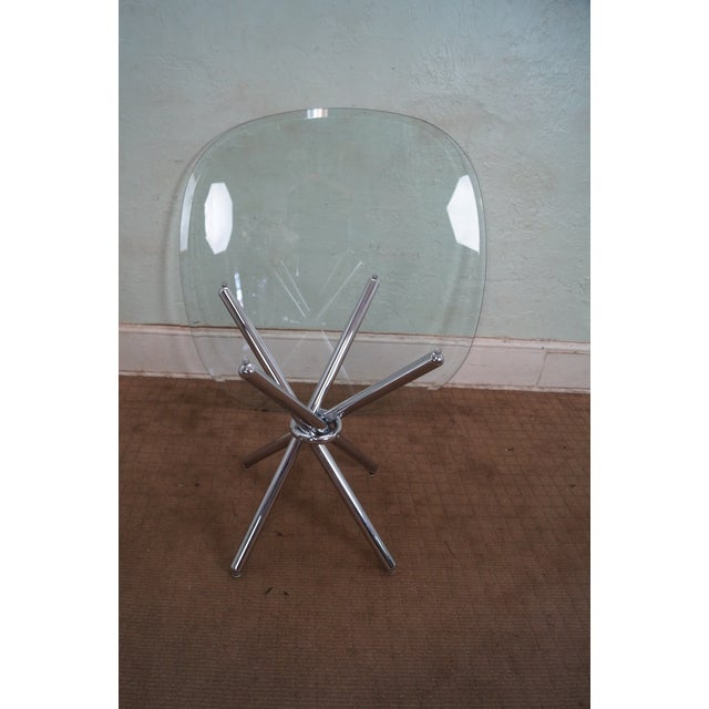 Mid-Century Modern Chrome Leg Glass Top Table For Sale - Image 9 of 10