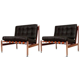 Pair of Mid Century Mexican Modernist Lounge Chairs Barcelona For Sale