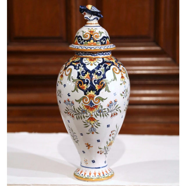 19th Century French Hand-Painted Ceramic Potiche and Lid From Rouen For Sale - Image 4 of 8