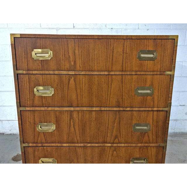 1970s 1970s Campaign Dixie Furniture Tall Dresser For Sale - Image 5 of 12