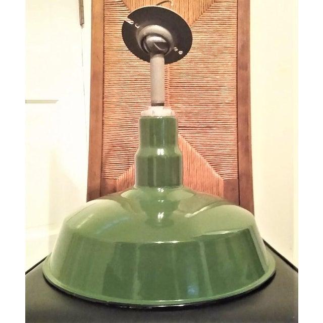 Metal Vintage Green Enameled Metal Pendant Light For Sale - Image 7 of 7