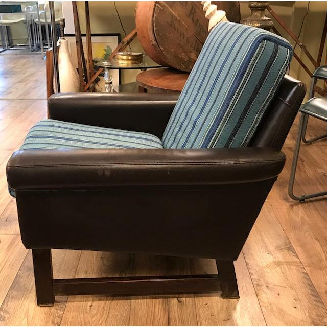 Boho Chic Mid Century Leather Chair With Striped Canvas For Sale - Image 3 of 9