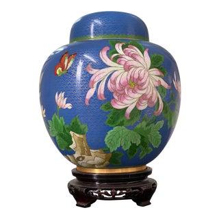 Oriental Asian Blue Cloisonné Ginger Jar Urn For Sale