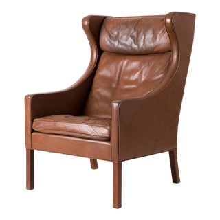 Børge Mogensen Leather Wingback Chair For Sale