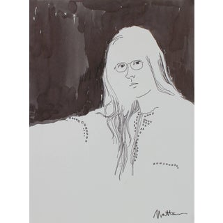 Rip Matteson Monochromatic Portrait of a Woman With Glasses in Ink, Late 20th Century Late 20th Century For Sale