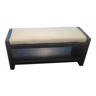 Modern Ottoman With Leather Cushion For Sale