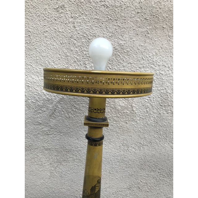 Traditional Antique Victorian Mustard Color Column Lamp With Glass Shade For Sale - Image 3 of 10