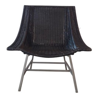 1970s Vintage Black Wicker Lounge Chair on Metal Base For Sale