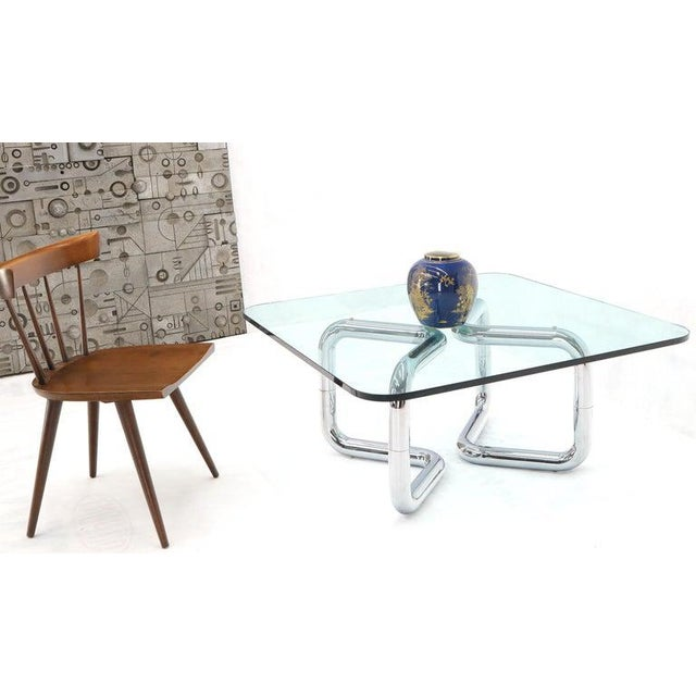 Metal Rounded Corners Square Coffee Table on Thick Bent Tube Chrome Base For Sale - Image 7 of 13