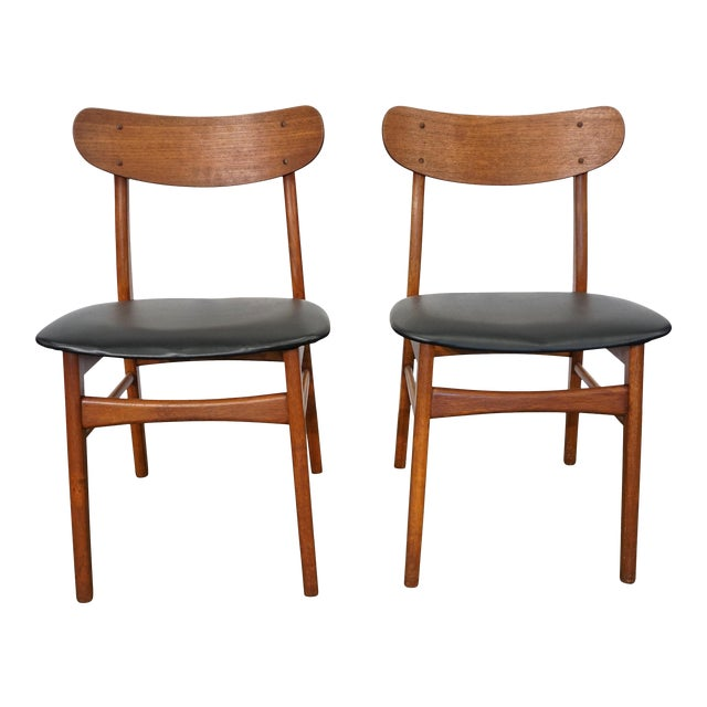 Excellent Mid Century Modern Teak Dining Chairs Hellerup Set Of 2 Bralicious Painted Fabric Chair Ideas Braliciousco