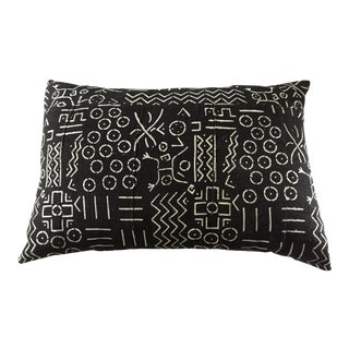 """African Mud Cloth Black & White Lumbar Pillow 22"""" W For Sale"""