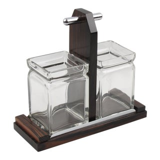French Art Deco Macassar Wood Chrome Condiment Jar Set For Sale
