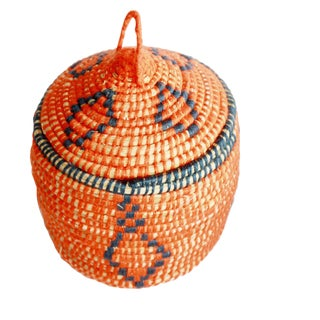 Moroccan Jane Small Woven Orange Straw Basket For Sale