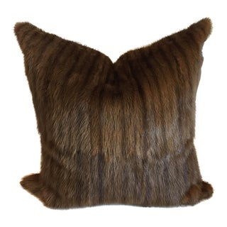 Modern Muskrat Fur/Gold Taffeta Pillow - 22x22 For Sale