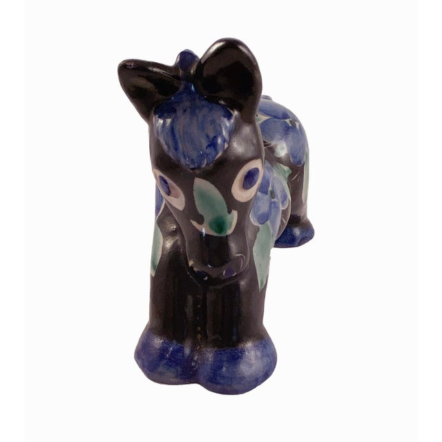 Black Studio Art Pottery Donkey Blue Floral on Black For Sale - Image 8 of 8