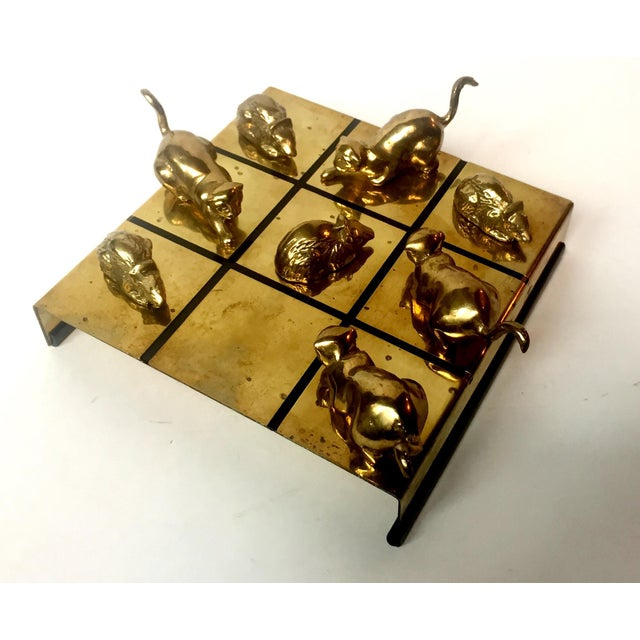Gorgeous vintage brass table tic-tac-toe game. Solid brass cat and mouse game pieces. Not only super fun, but an...
