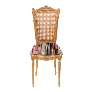 19th C. French Giltwood Side Chair With Donghia Stripped Silk Velvet For Sale