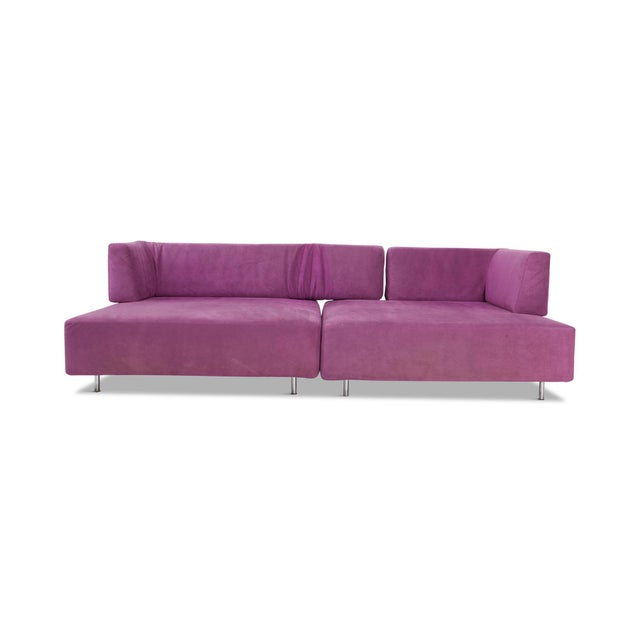 Modular sofa elements in original purple fabric, designed by Francesco Binfaré for Edra, Italy, 1993. The two elements can...