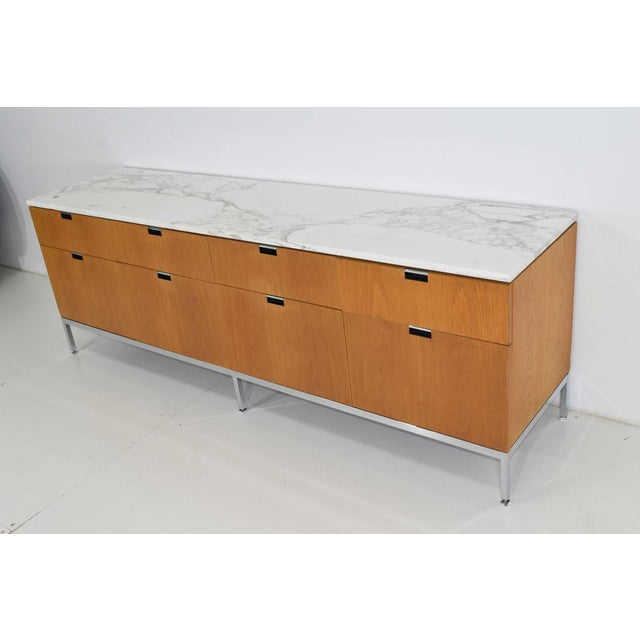 Brown Florence Knoll Credenza in White Oak and Calacutta Marble For Sale - Image 8 of 10