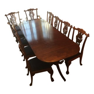 Mahogany Oak Leaf Chippendale Dining Set For Sale