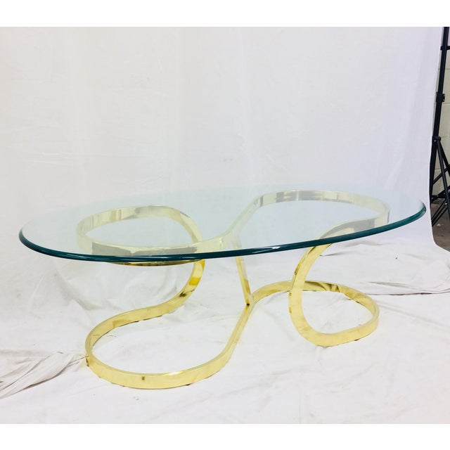 """Brass Vtg Modern Milo Baughman """"Ribbon Candy"""" Coffee Table For Sale - Image 7 of 13"""