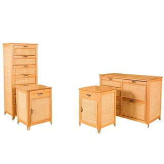 Blonde Tropical Style Bedroom Set with Woven Wicker Front