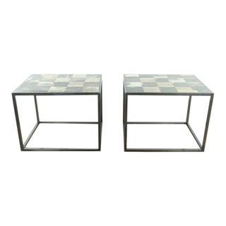Contemporary Barlas Baylar Petrified Wood Tile Top End Tables - a Pair For Sale
