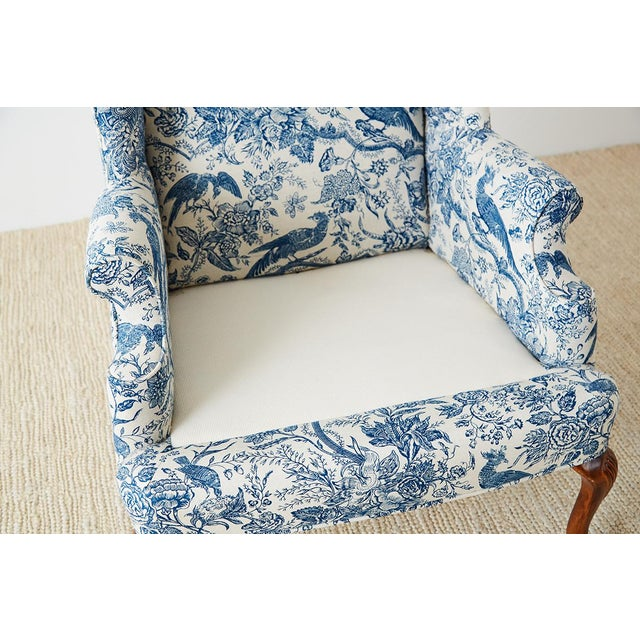 Chinoiserie Upholstered Queen Anne Wingback With Ottoman For Sale In San Francisco - Image 6 of 13